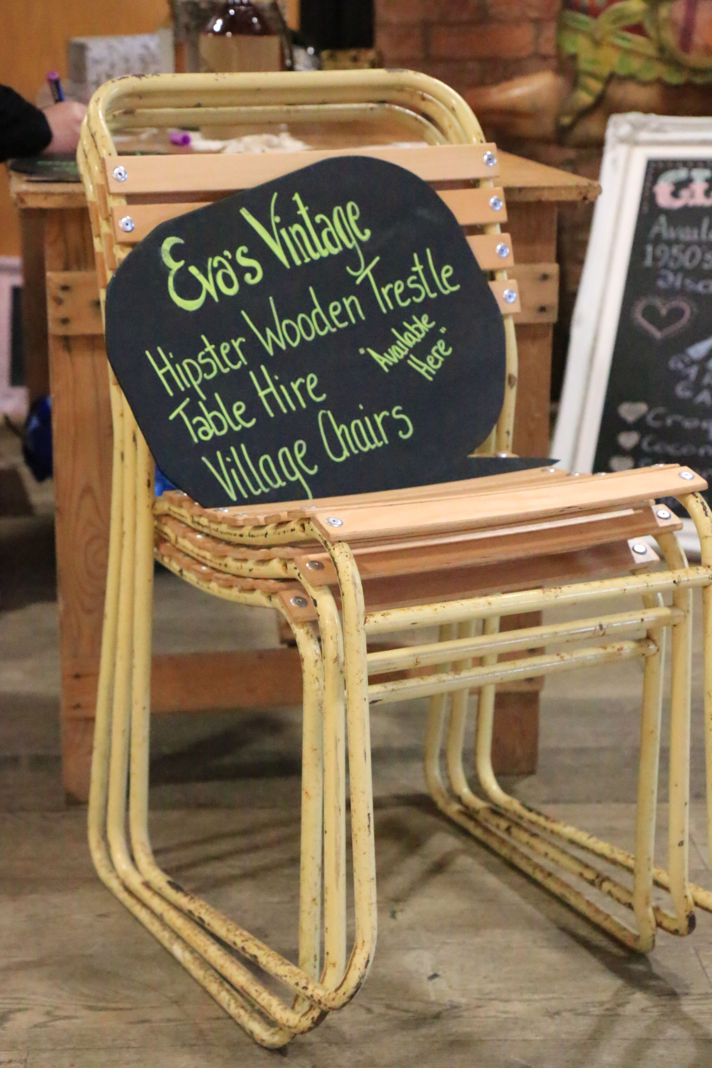 Lovely old village hall chairs with new beech slats for comfort available to hire www evasvintagehire com herefordshire