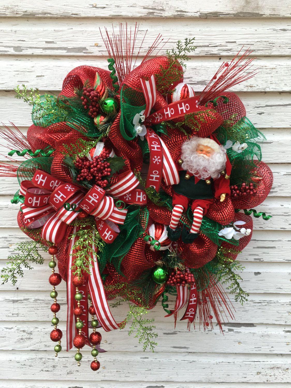 Santa Claus Deco Mesh Christmas Wreath, Christmas Wreath ...