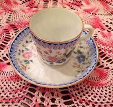 Demitasse Cup Saucer Teacup Floral Blue White Pink