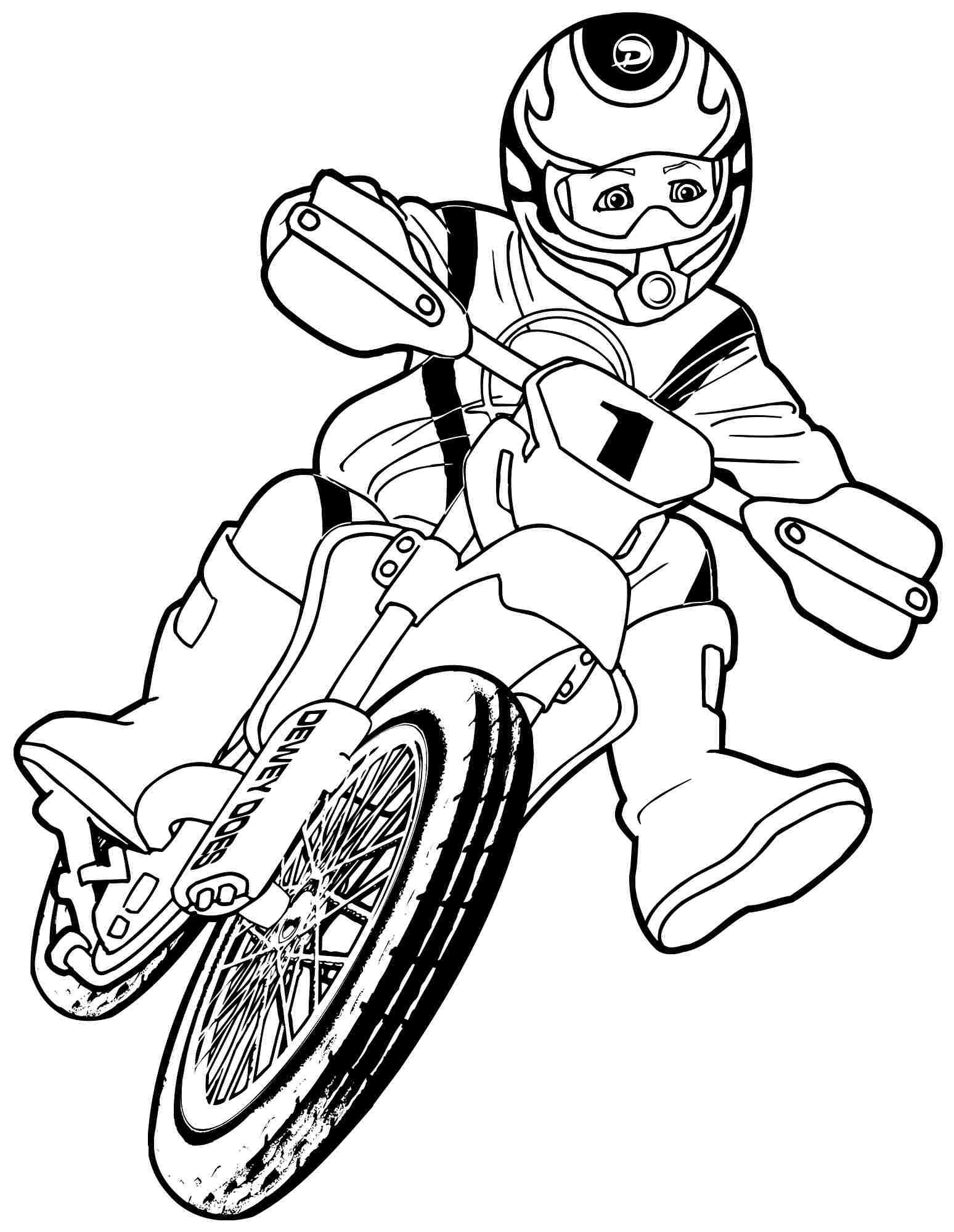 Free transportation motorcycle colouring pages for kindergarten