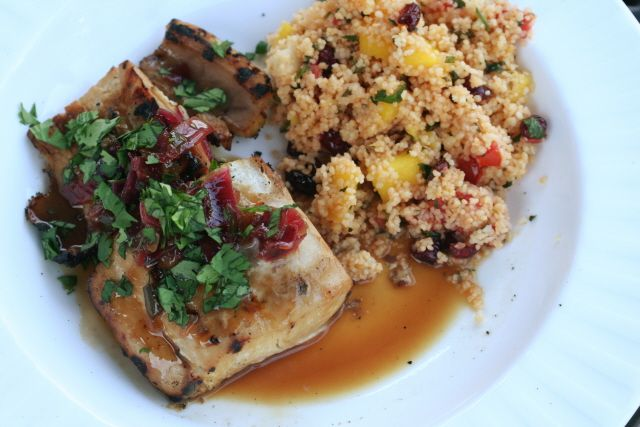 """Grilled Fish """"Ceviche Style"""" and couscous with mango"""