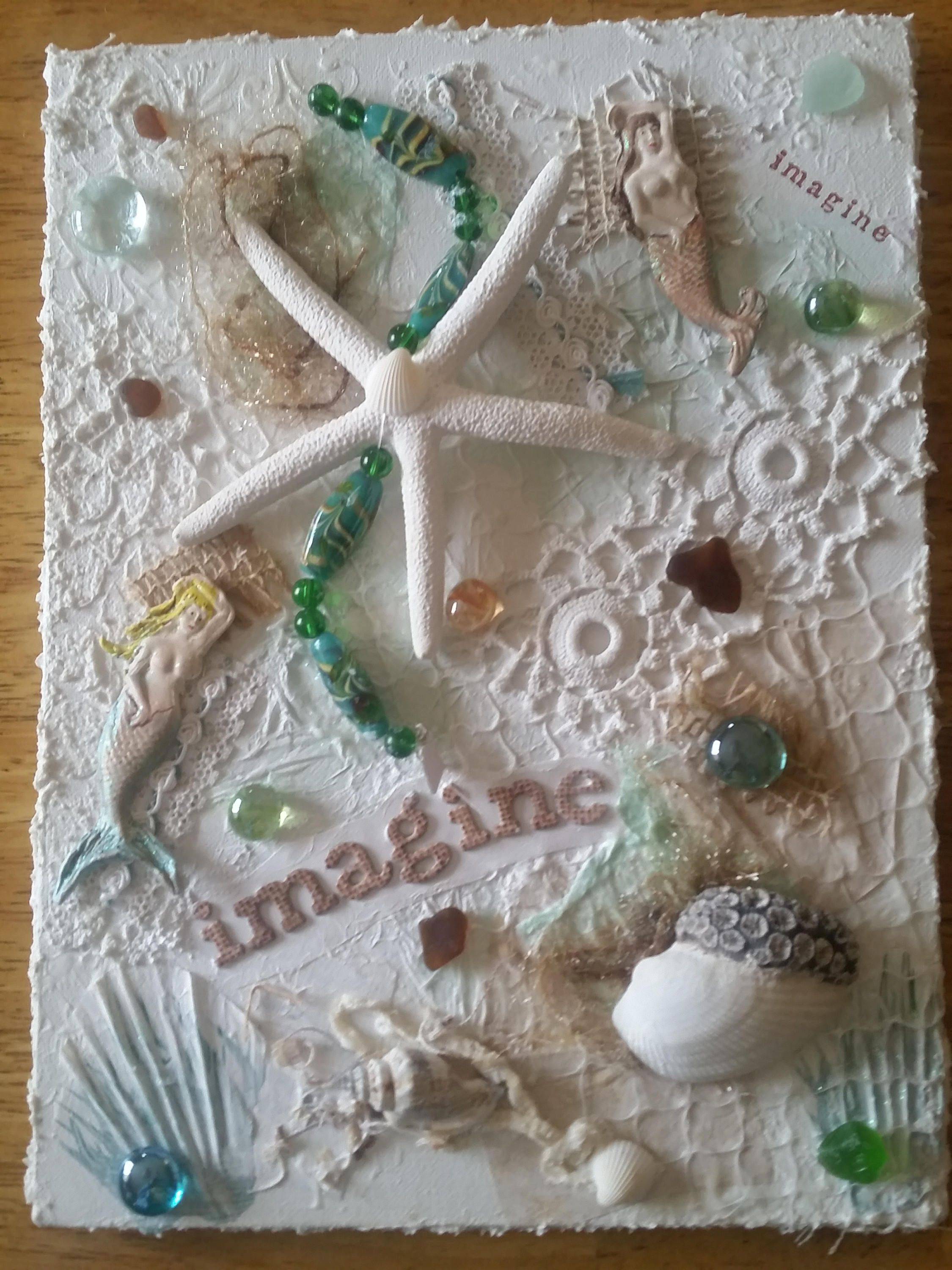 Altered Art  Mixed Media Sea Themed Wall Art with Sea Glass and Polymer Clay Mermaids by ArteDiMareSeaArt on Etsy