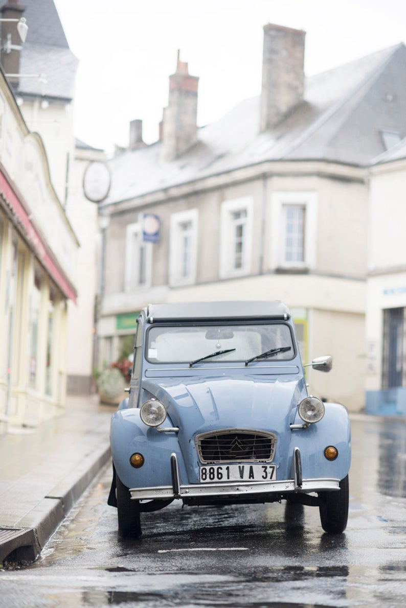 France Photograph – Blue Citroen, , French Car, French Country Home Decor, Fine Art Photograph, Large Wall Art