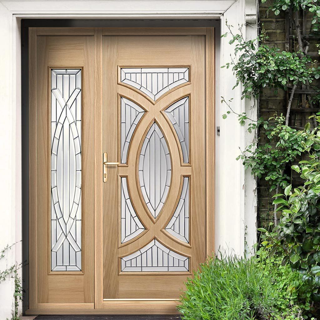 The Lovely Majestic Exterior Oak Door And Frame Set With 1 Side Screens And  Zinc (