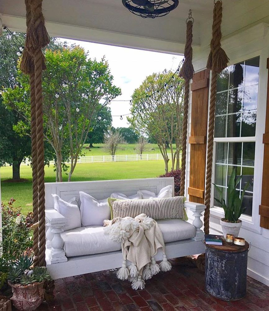 Front Porch Swings Farmhouse Exterior