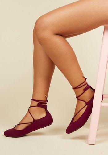 3192f4b8a Lace to the Top Flat in Maroon - Red, Solid, Work, Casual, Minimal, Fall,  Good, Lace Up, Red, Saturated, Flat