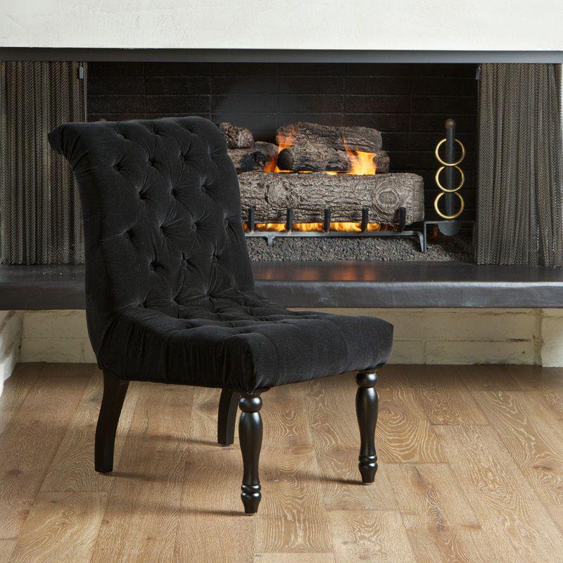 Best Elegant French Design Black Velvet Chair W Tufted Button 400 x 300