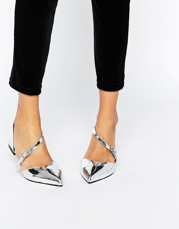 f492f3443f37 Asos LEAD THE WAY silver pointed flats that we all love! Wide Fit Shoes