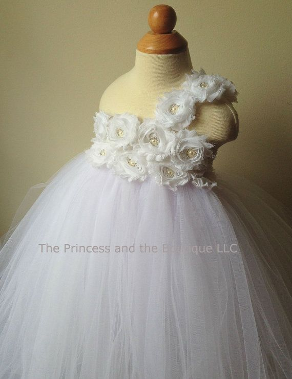 White flower girl dress, flower girl dress white, white tutu dress ...