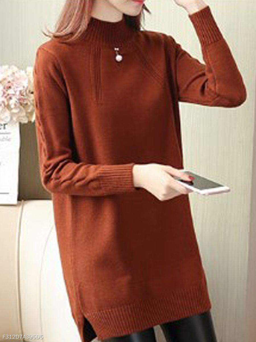 e55ee2a4c12 High Neck Plain Long Sleeve  Sweaters  Pullover -  Fashion