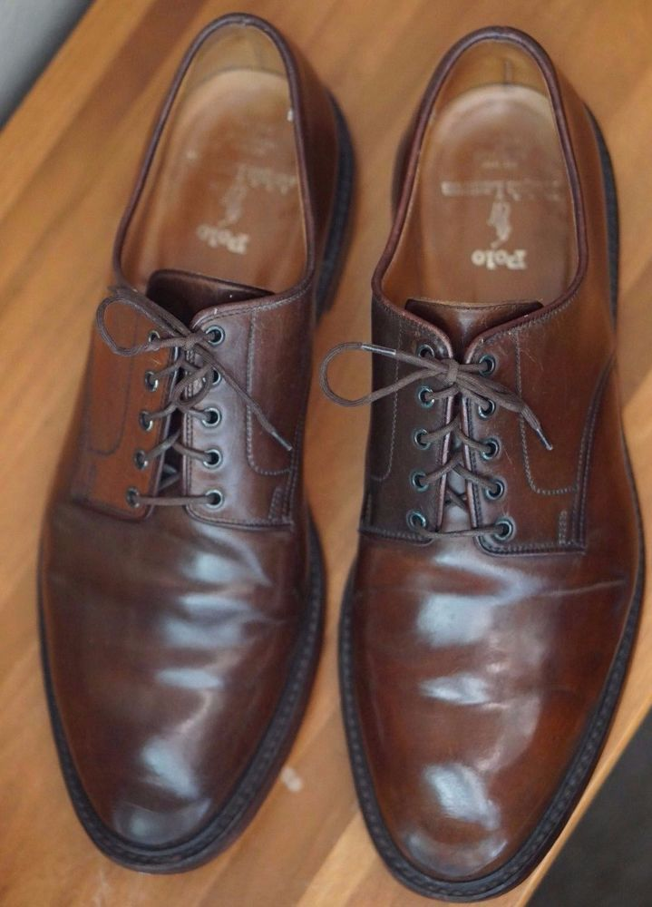 CROCKETT & JONES 11.5 D CIGAR SHELL CORDOVAN PLAIN TOE BLUCHER RALPH LAUREN  PTB #CrockettJones