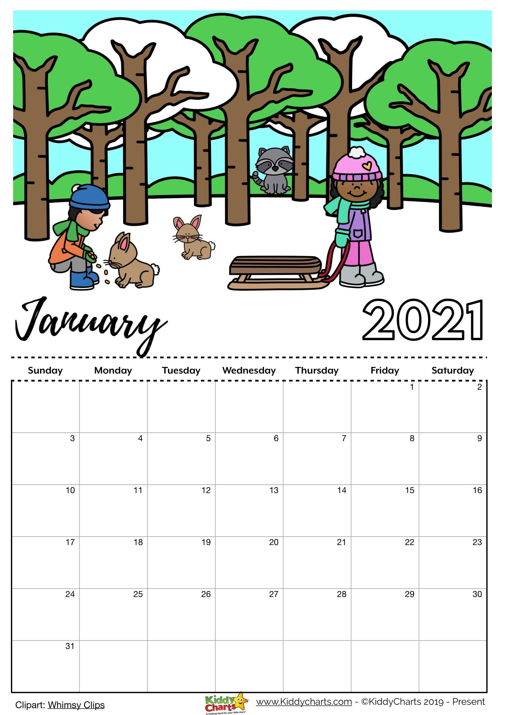 Printable Childrens Calendar 2021 Check our new free printable 2021 calendar! in 2020 | Printable