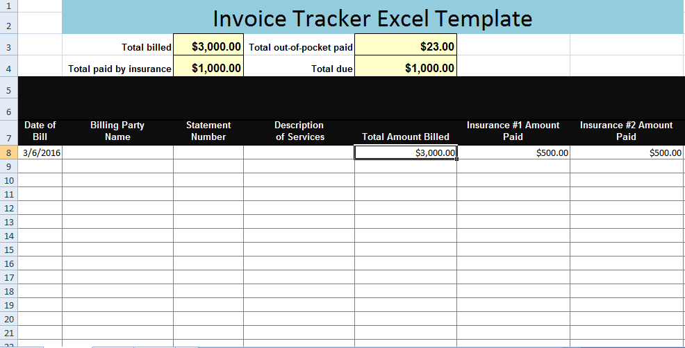 invoice tracker excel template