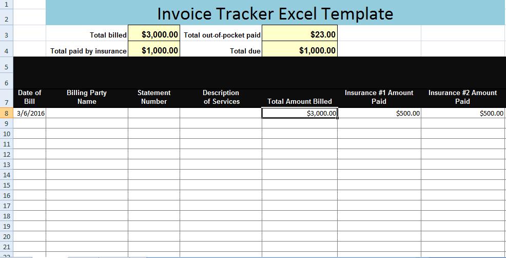 invoice sample xls