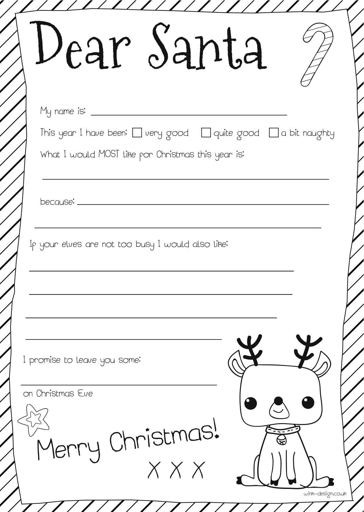 Free Santa Letter Printable Dear Santa Letter