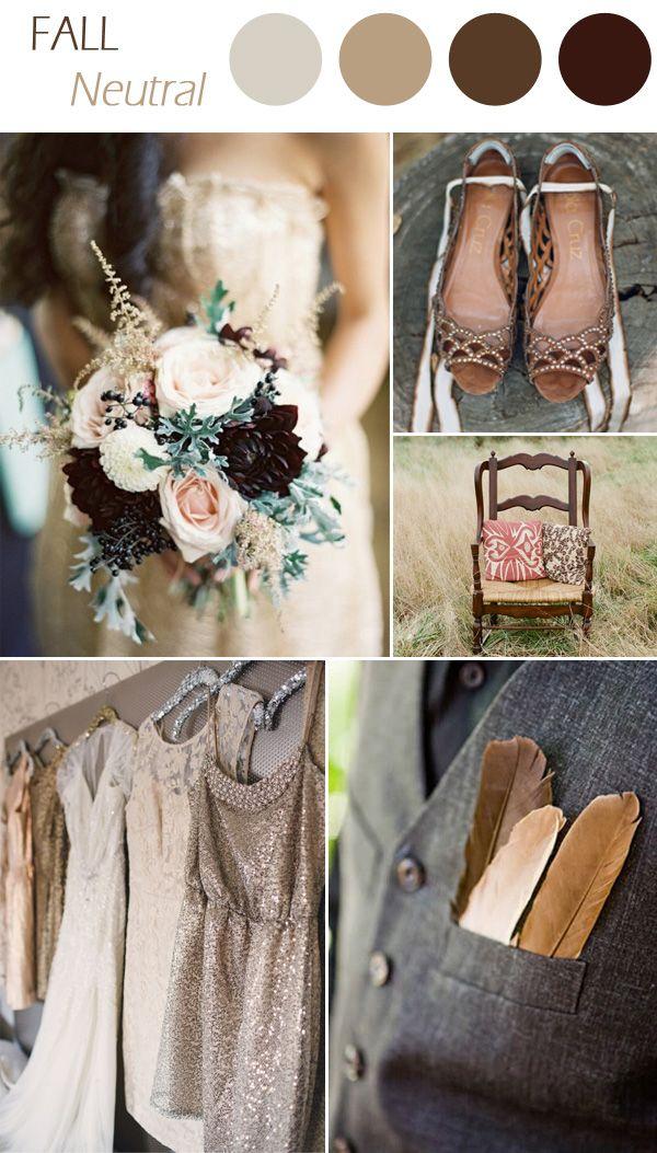 6 practical wedding color combos for fall 2015 paleta de cores 2015 trending neutral wedding colors for fall wedding ideas junglespirit Images