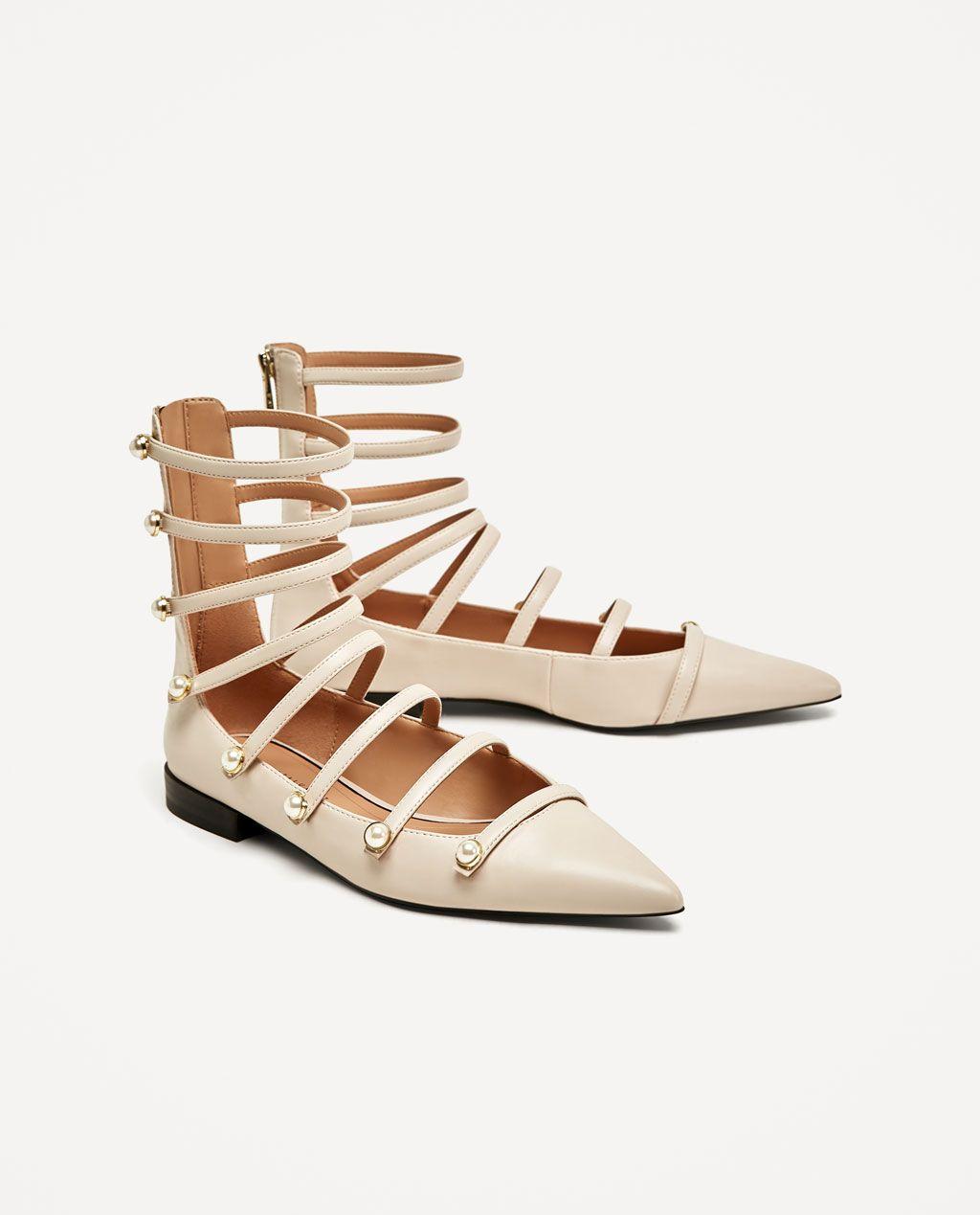 Zapatos Aw17 Mujer Colección Abotinada Zara Perlas España Bailarina qETCRwE