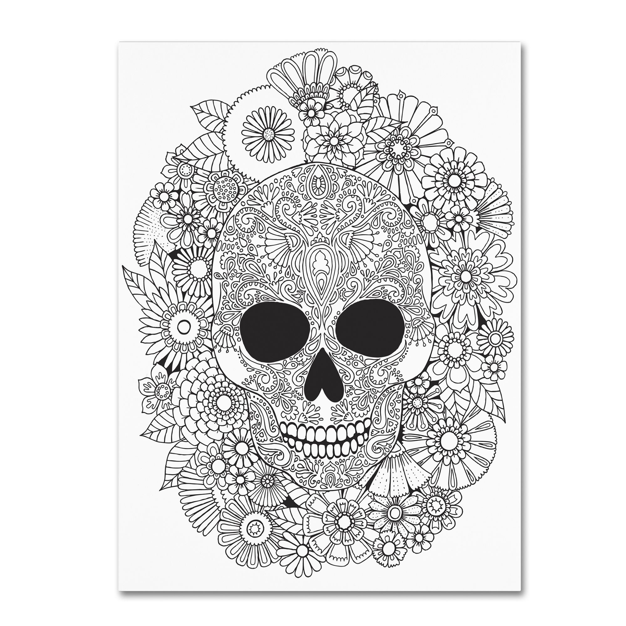 Photo of Hello angel & # 39; Sugar Skull Wreath & # 39; Canvas wall art 35 x 47 inches