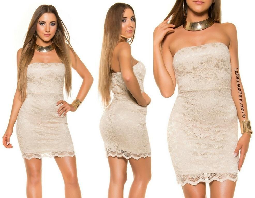 Mini vestido de encaje atractivo Beige