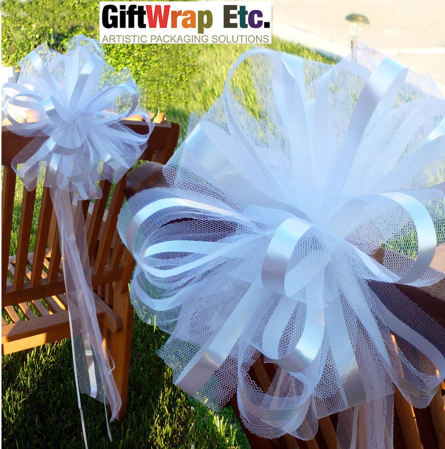 10 Extra Large White Wedding Pew Bows Net Tulle By
