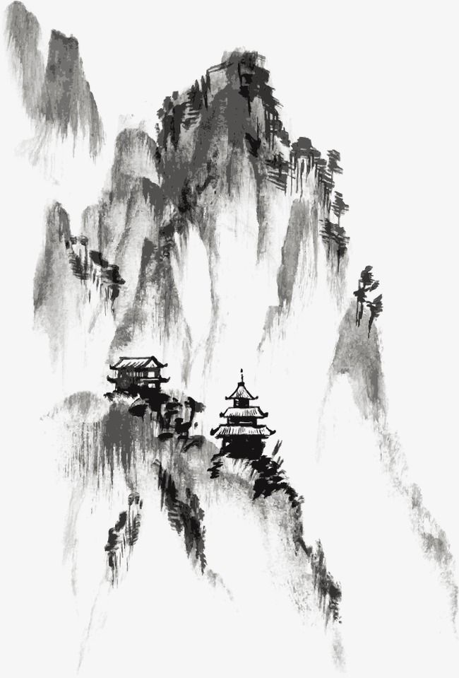 Ink Chinese Painting Mountain Png Transparent Clipart Image And