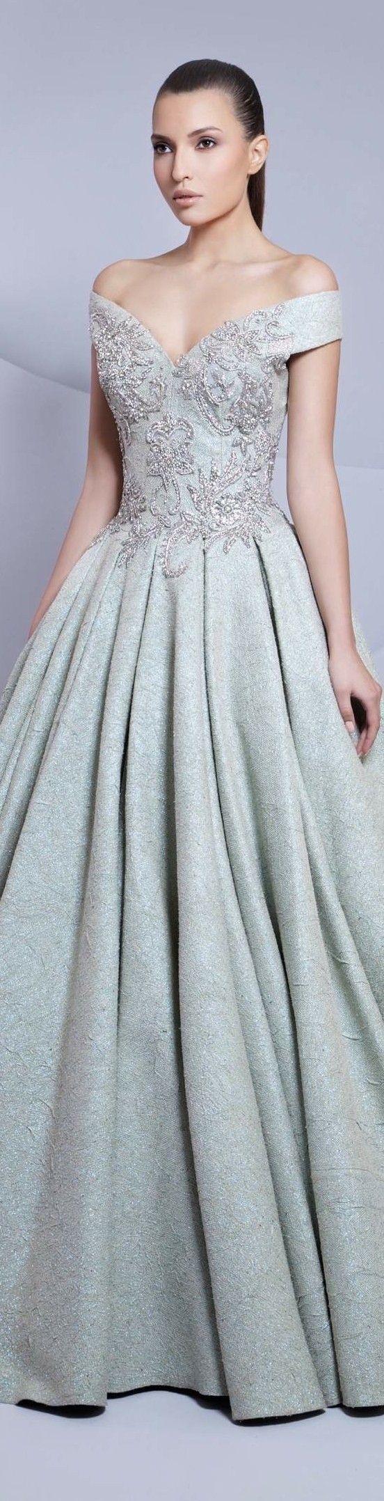 Tarek sinno couture pale blue wedding bridal gown dress