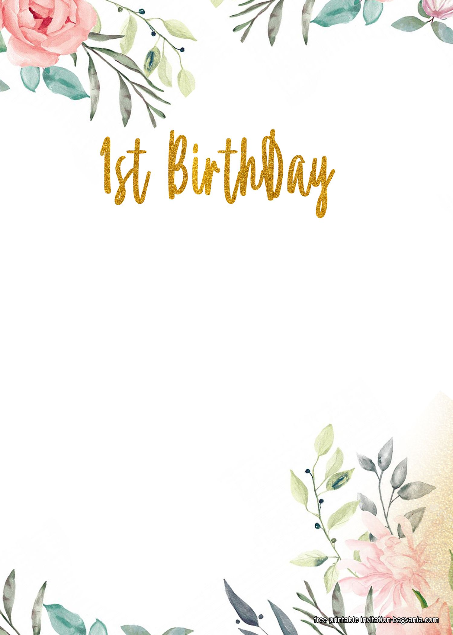 Free Printable First Floral Birthday Invitation Templates Floral Birthday Invitations Free Birthday Invitation Templates First Birthday Invitations