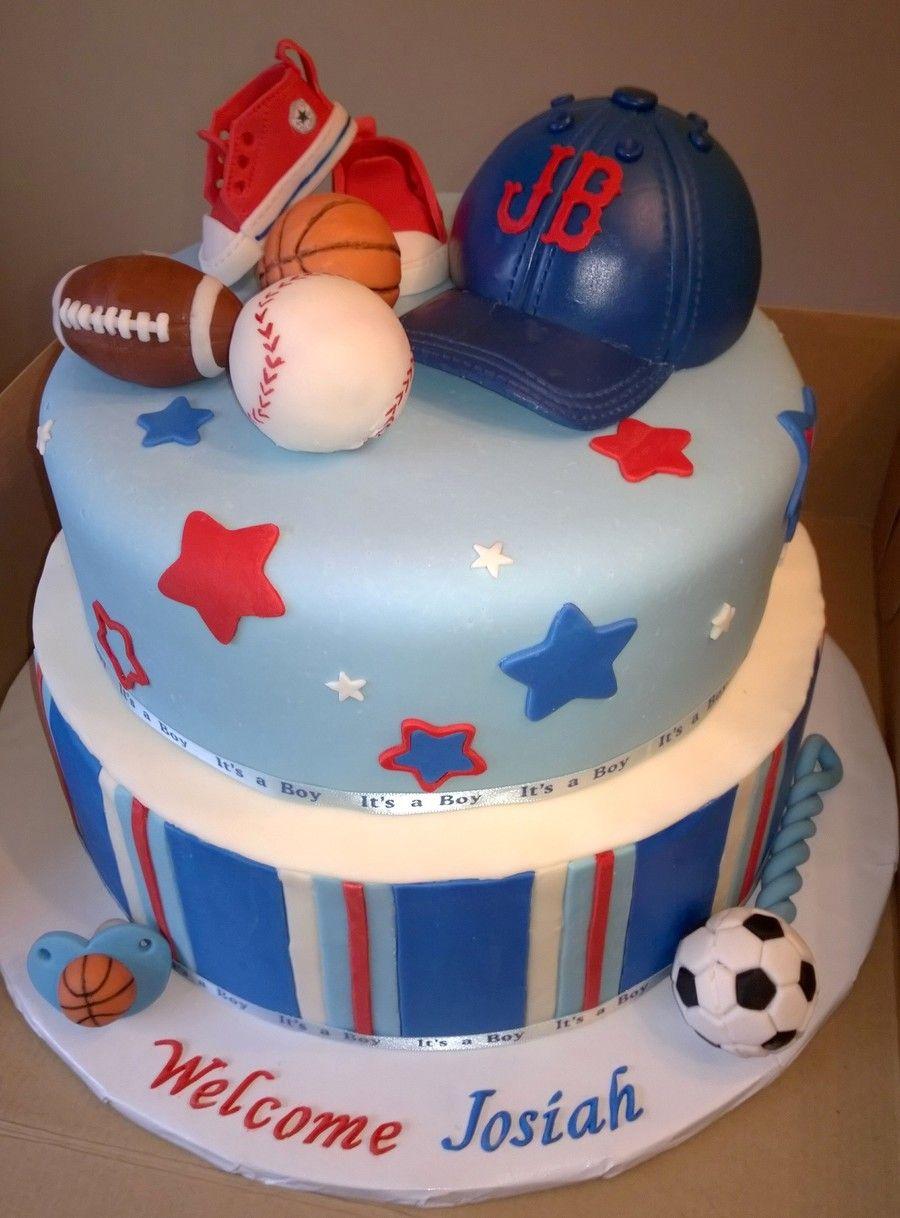 Sports AllStar Little MVP Baby Shower Cake With Fondant Football - All star birthday cake