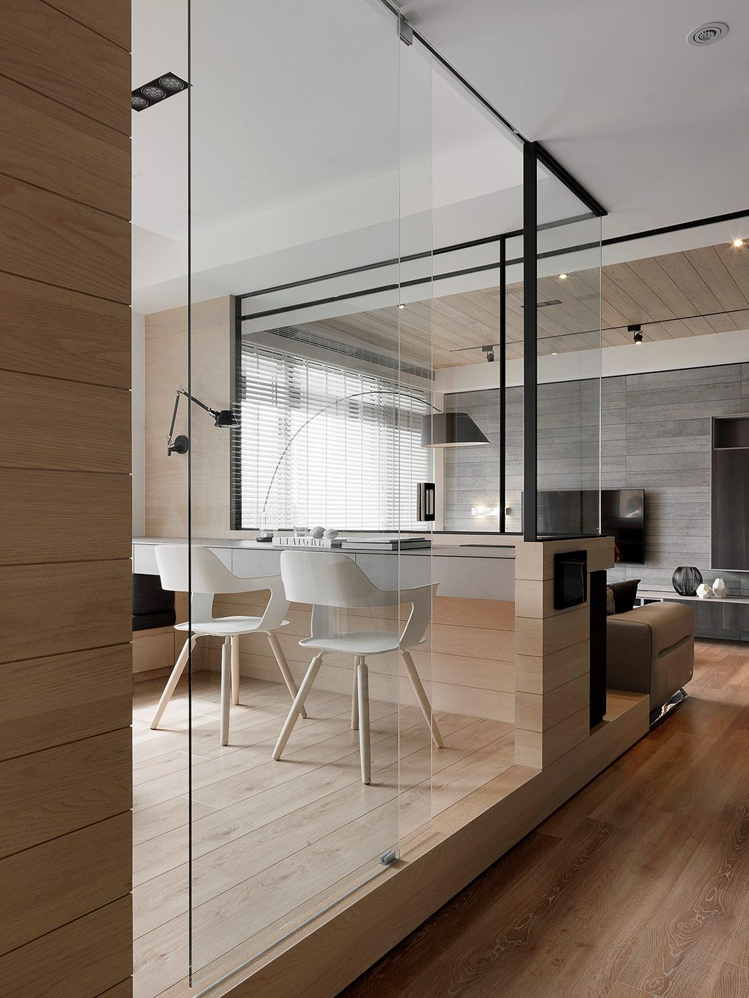 30 Minimalist Living Room Ideas Inspiration To Make The Most Of Your Space: Study Room Design, Glass Partition Designs, Minimalist Home