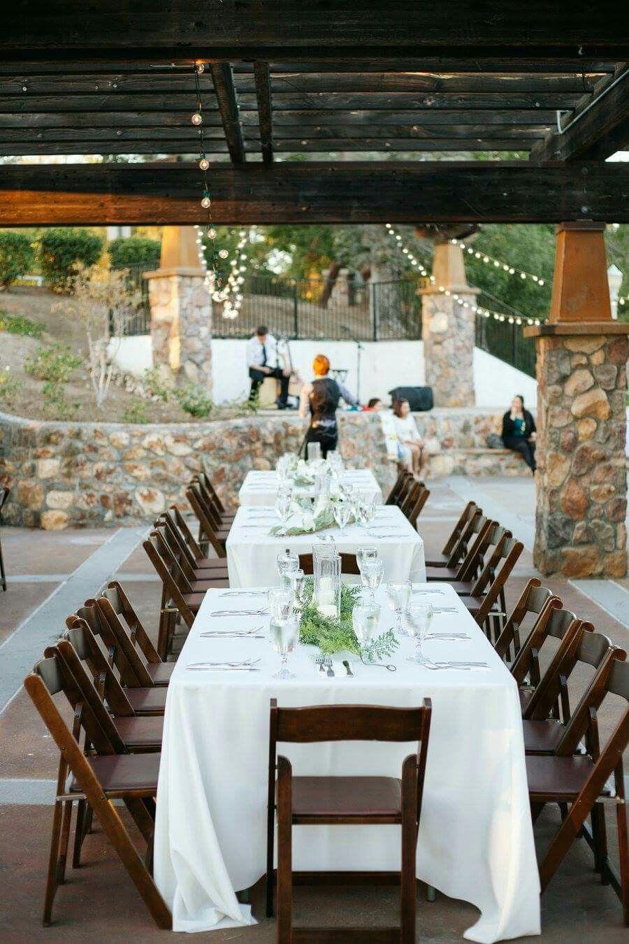Banquet chairs wedding - Hillcrest Terrace Fullerton California Wedding Banquet Table Decor Outdoor Fall Evening Wedding Reception Magnolia