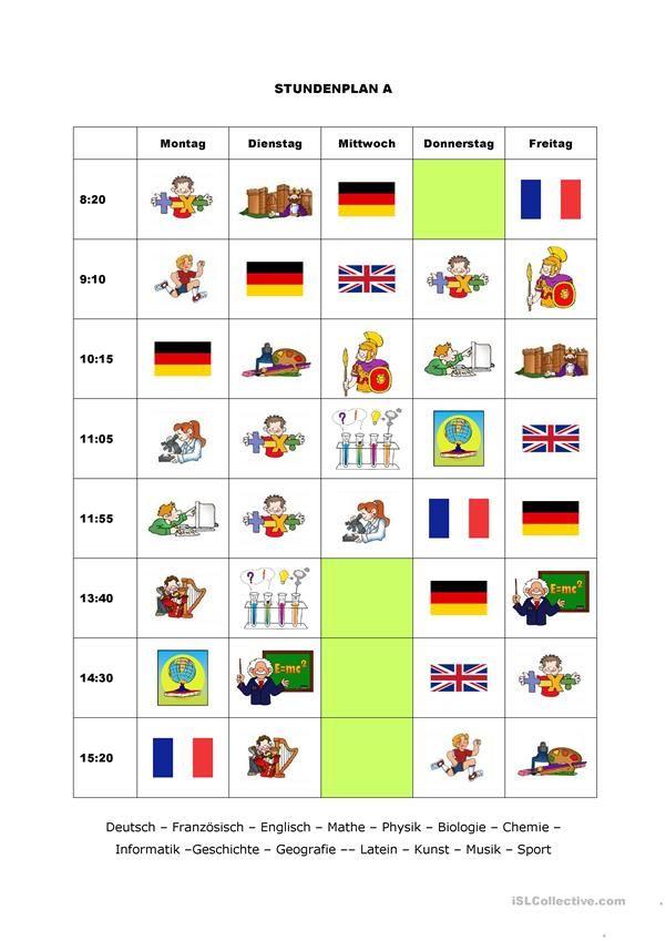 Stundenpläne   Deutsch für Kinder (Arbeitsblätter)   Pinterest ...