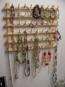 Wooden thread spool holder repurposed to a jewelry organizer OCD