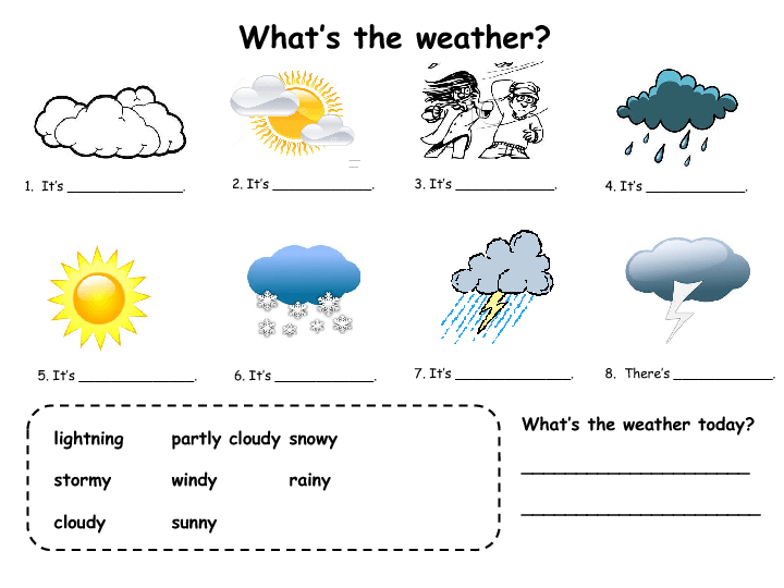 Good little fillin practice for weather esl – Weather Worksheets for Kids