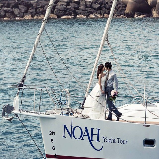 Pre-wedding photoshoot on a yacht at #Jeju Island by May Studio #Korea  Book your wedding photoshoot at www.onethreeonefour.com
