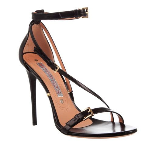 Gianmarco Lorenzi Simple Black Leather Sandals