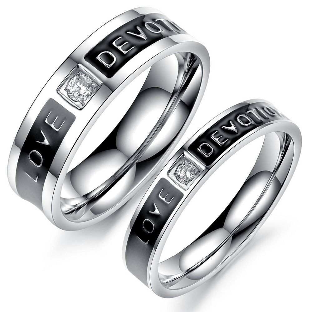 Free Shipping Stainless Steel Wedding Bands Couple Rings