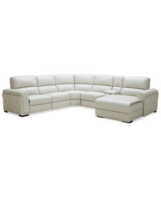 Jessi Quilted Side Leather 6 Piece Chaise Sectional Sofa With 1 Power  Recliner U0026 Console