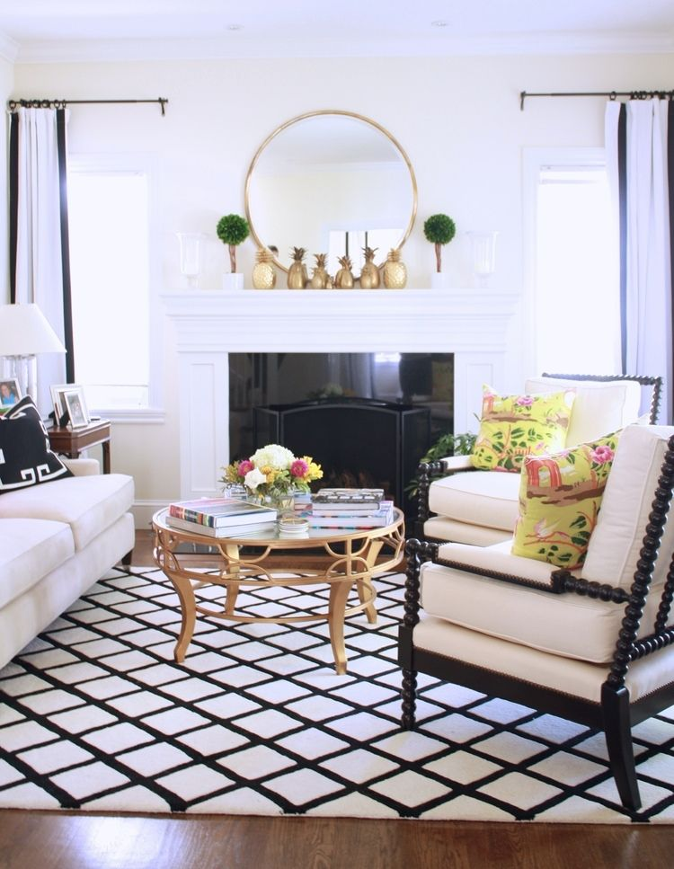 A Bright Black And White Living Room Arianna Belle Black And White Living Room White Living Room White Living
