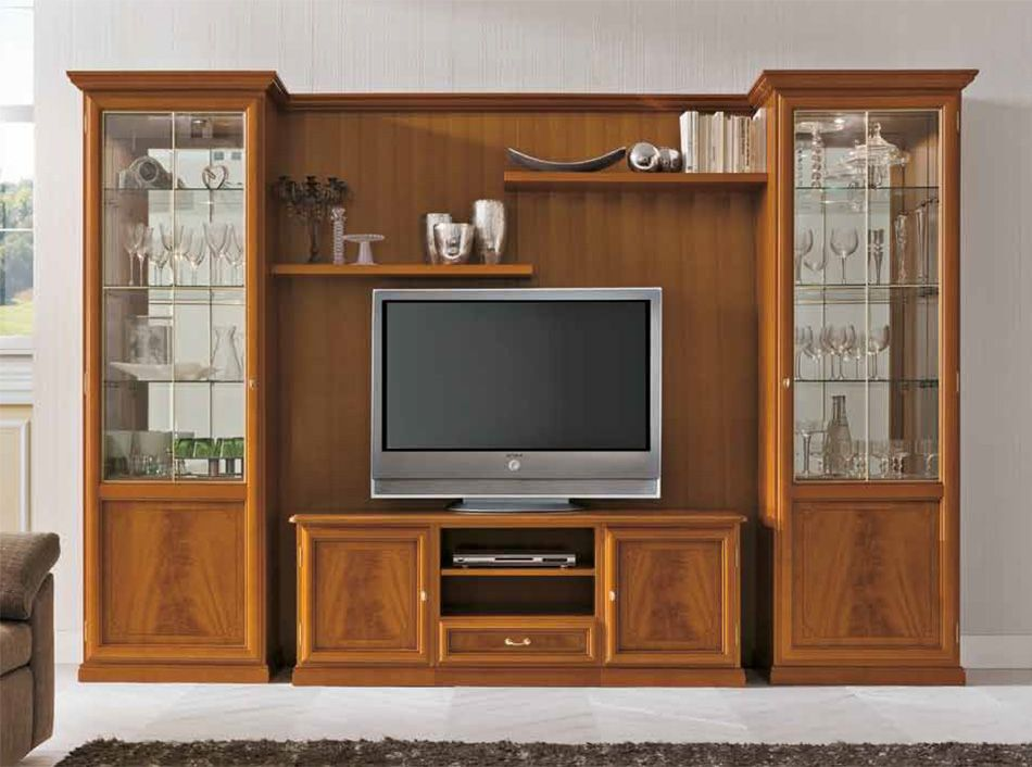 Contemporary Italian Wall Unit G252 Cherry Finish Tv Room Design Tv Unit Furniture Design Tv Unit Decor #wall #unit #design #for #living #room