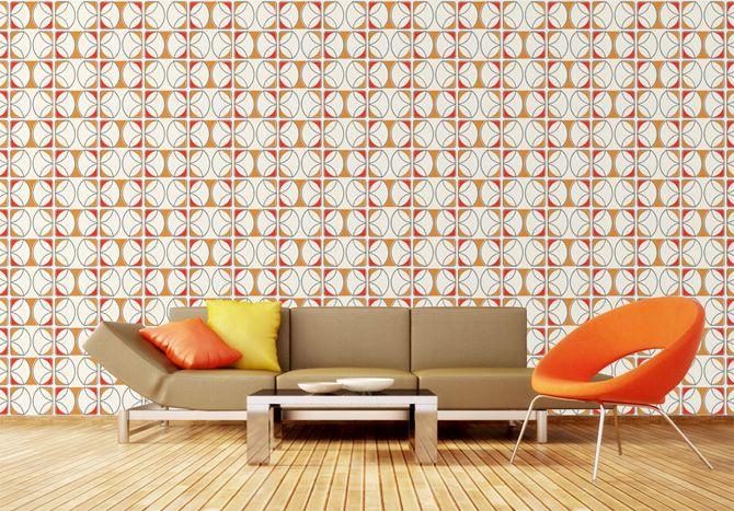 Jaren 70 behang interieur oranje - Woonnieuws | Pinterest - Jaren 70 ...