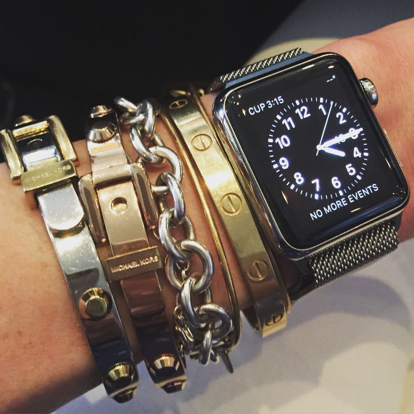 92982e3cbaf How to style an Apple watch - stack with Cartier, Alex + Ani, Tiffany & Co.  and Michael Kors bracelets - arm party!