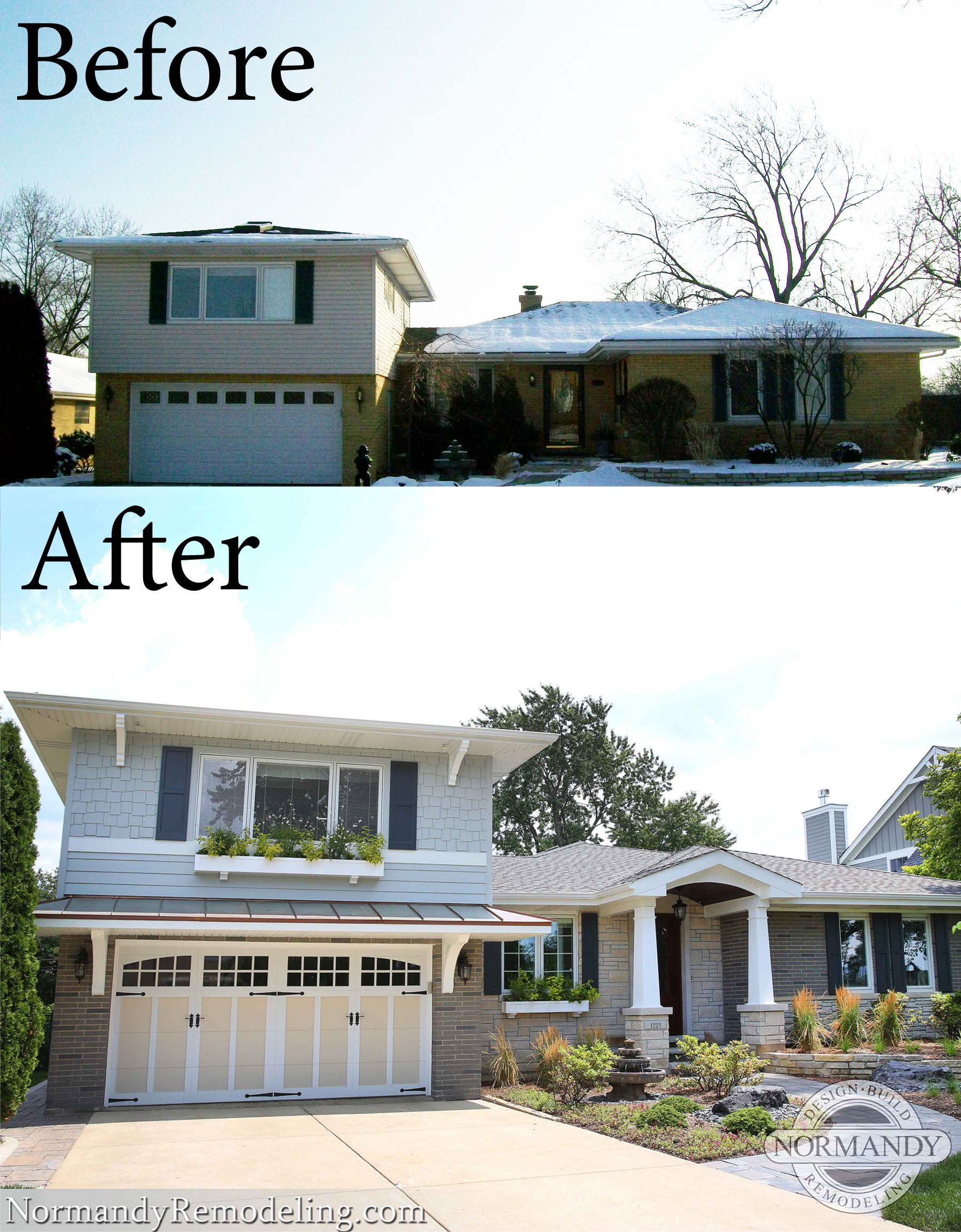 Split Level Exterior Remodel Before And After Interior