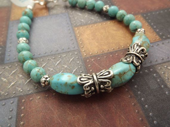 Turquoise Magnesite Bracelet by MeLadyJewelry on Etsy, $15.00