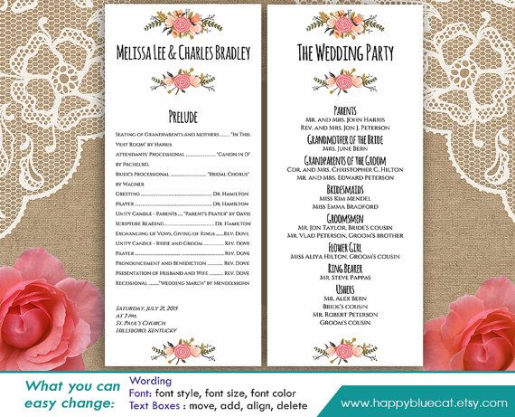 Free Fonts Used In Template Amatic Cinzel Print Your Own Wedding Program With This Downloadable