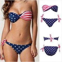 American Flag Bandeau Strap Bikini @Kelsey Kirby you need this!!!