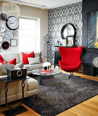 Kırmızı vurgu rengi Home/ Furnishing Pinterest Living rooms