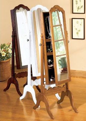 Locking Jewelry Armoire: Cheval Mirror Jewelry Armoire