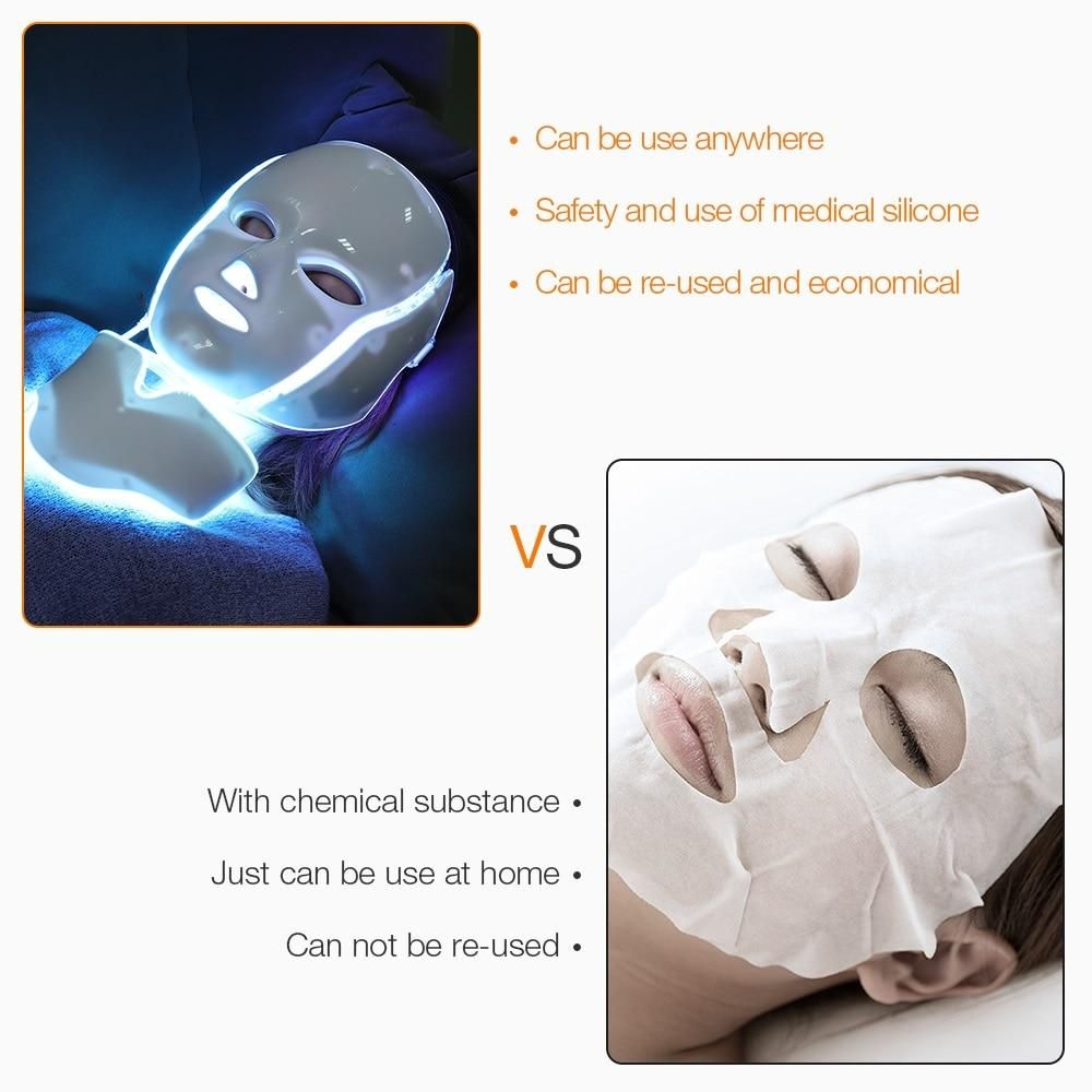 Photo of Foreverlily LED Light Photon Therapy Mask 7 Color Light Treatment Skin Rejuvenation Whitening Facial Beauty Daily Skin Care Mask – EU Plug with box / Russian Federation
