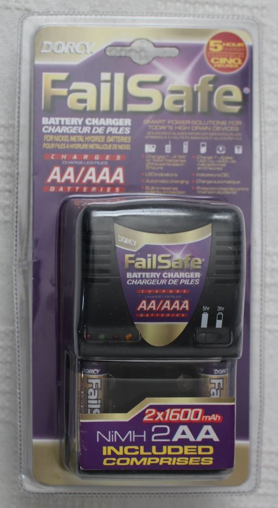 Dorcy Failsafe Aa Aaa Battery Charger 2 Nimh Aa Batteries Included 5 Hour Charge 35355416473 Ebay Aaa Battery Charger Nimh Charger