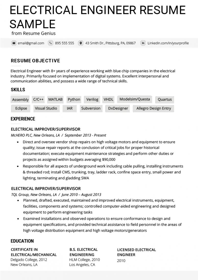 13 Electrician Resume Pattern